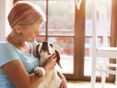 senior woman with dog